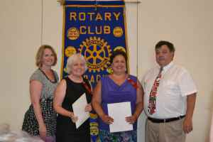 President Kate Dame and Treasurer Chuck Moran welcome newest Dracut Rotarians, (center l) Renee Plummer and (center r) Nanci Hill.