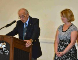 Charter President Dr. Paul Dufour delivers the oath of office to President Kate Dame.